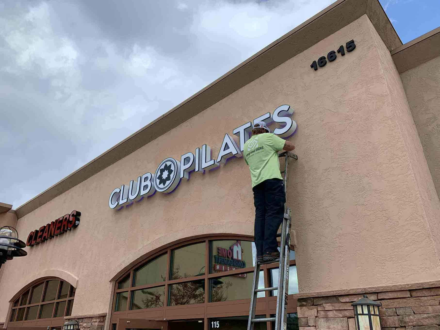 Club Pilates Out Door Sign Installation