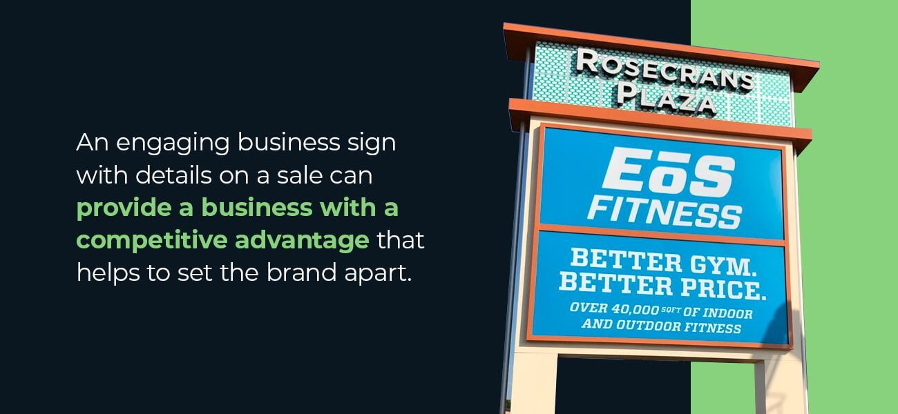 An engaging business sign with details on a sale can provide a business with a competitive advantage that helps to set the brand apart.